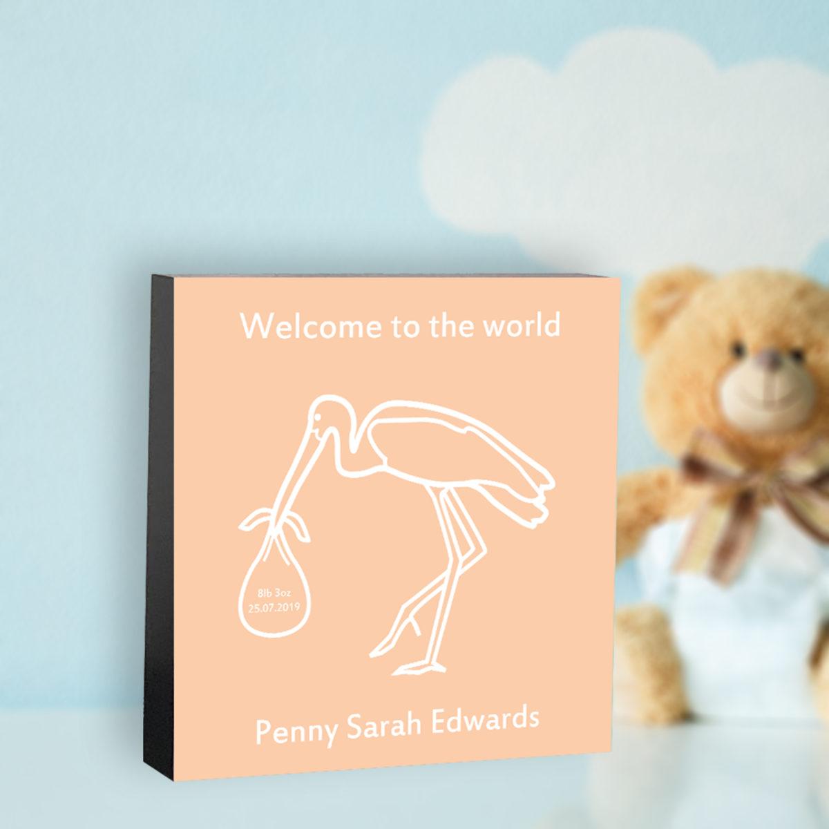 Personalised New Baby Decorative Block