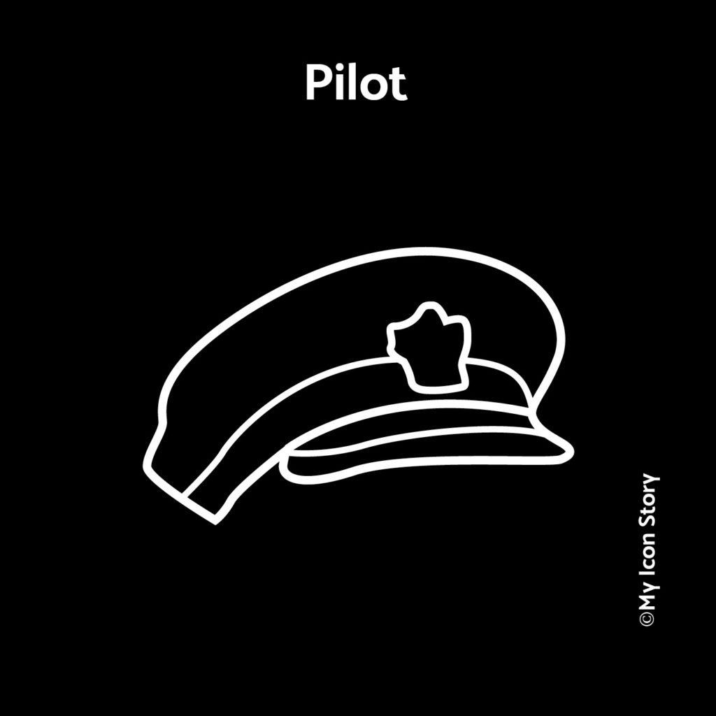 Pilot airplane hat icon