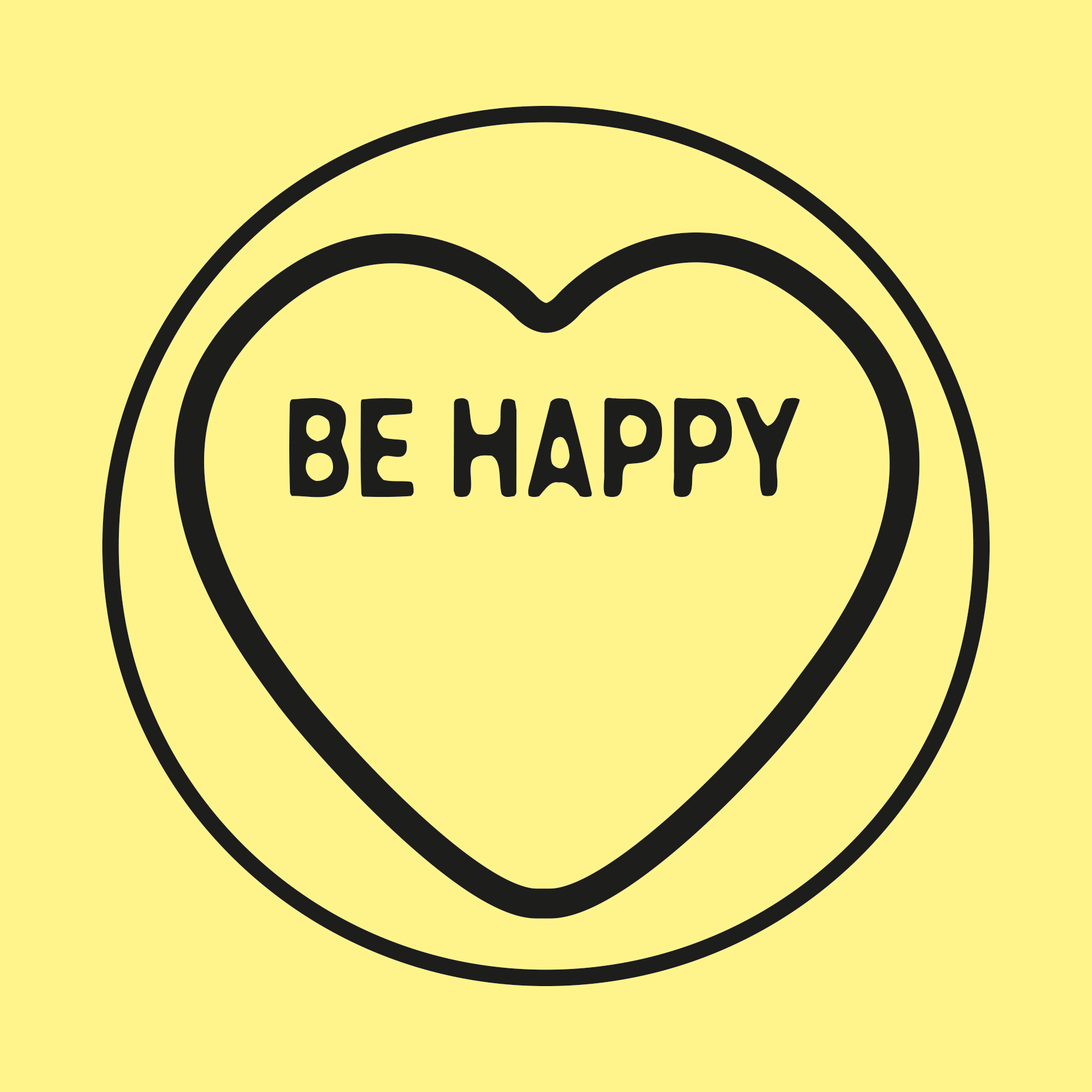 Yellow Love Heart with Be Happy expression