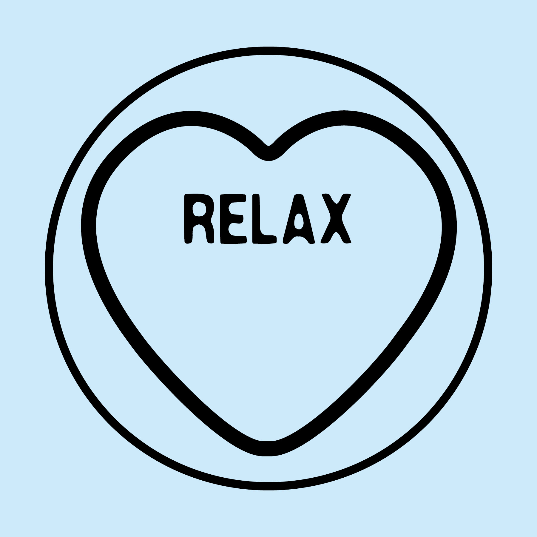Blue Love Heart with Relax expression