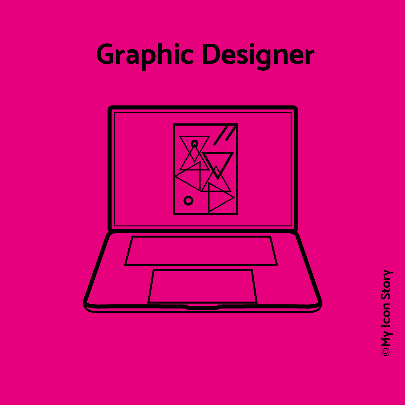 icon of a laptop featuring a graphic design shapes