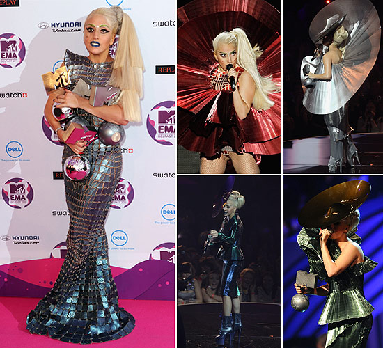 Lady Gaga's outfits at the MTV EMAs in 2011