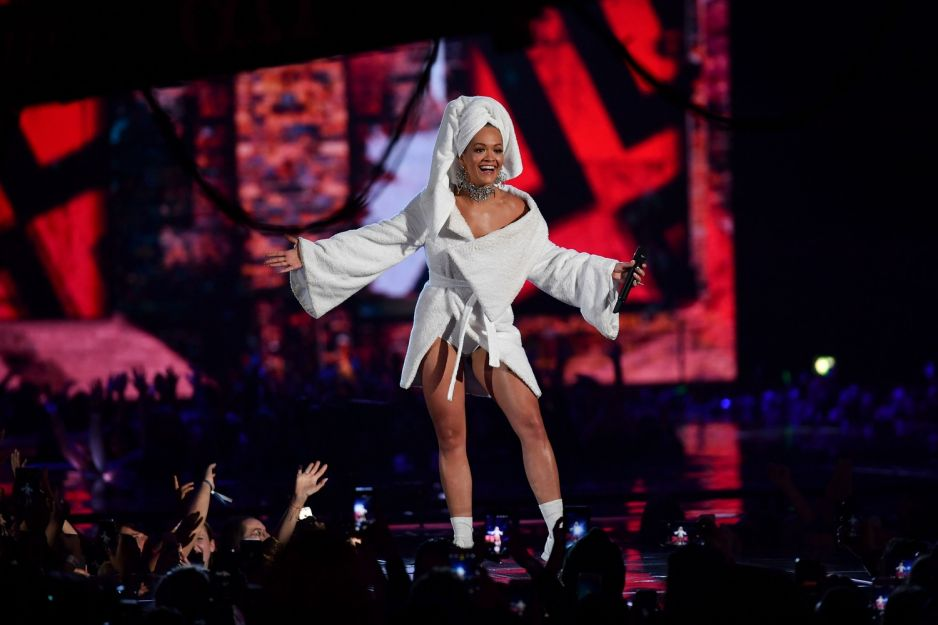 Rita Ora dresses in dressing gown at the MTV EMA 2017 awards show as host