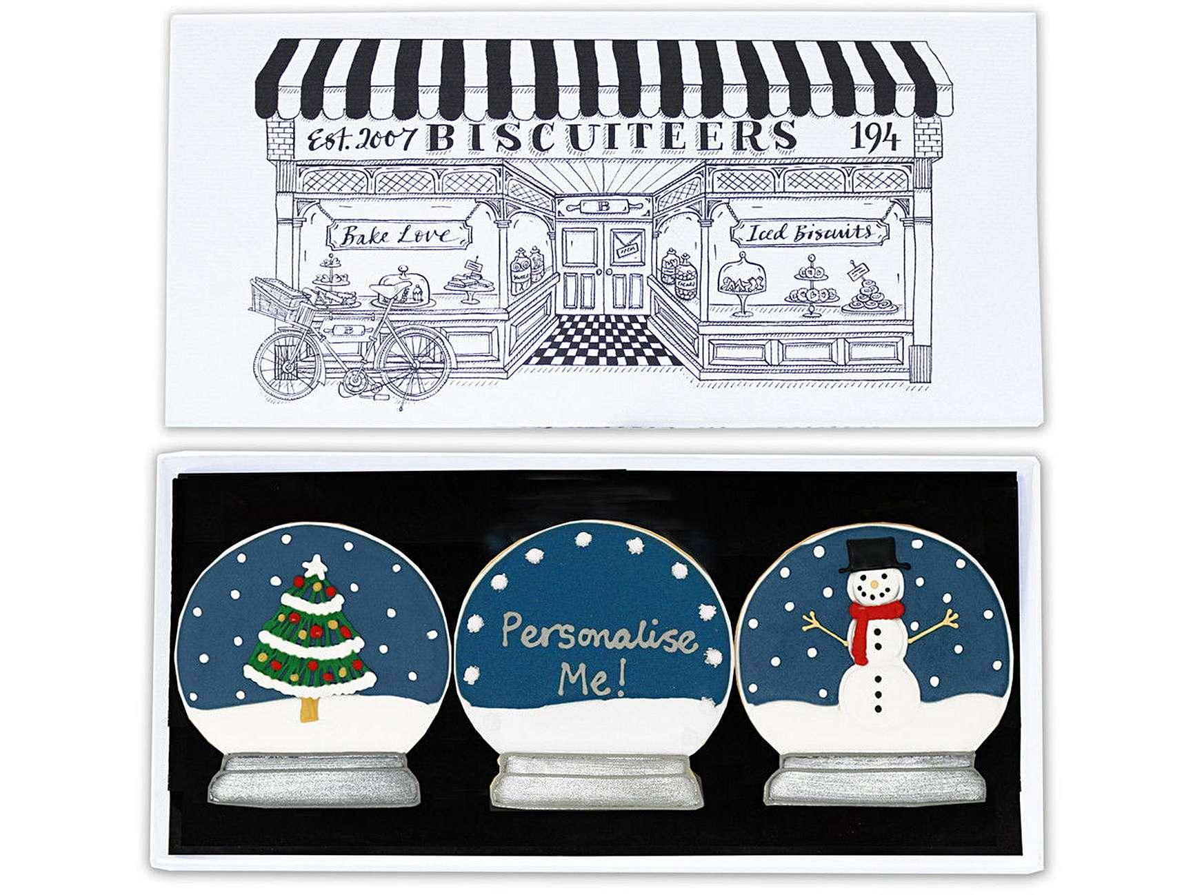 Biscuiteers Personalised Snowglobe letterbox biscuits