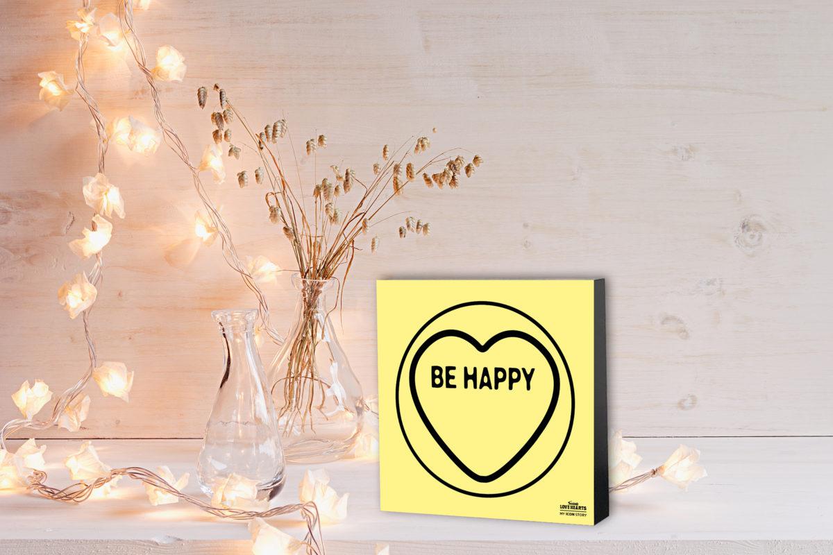 BE HAPPY Love Hearts Expression Block