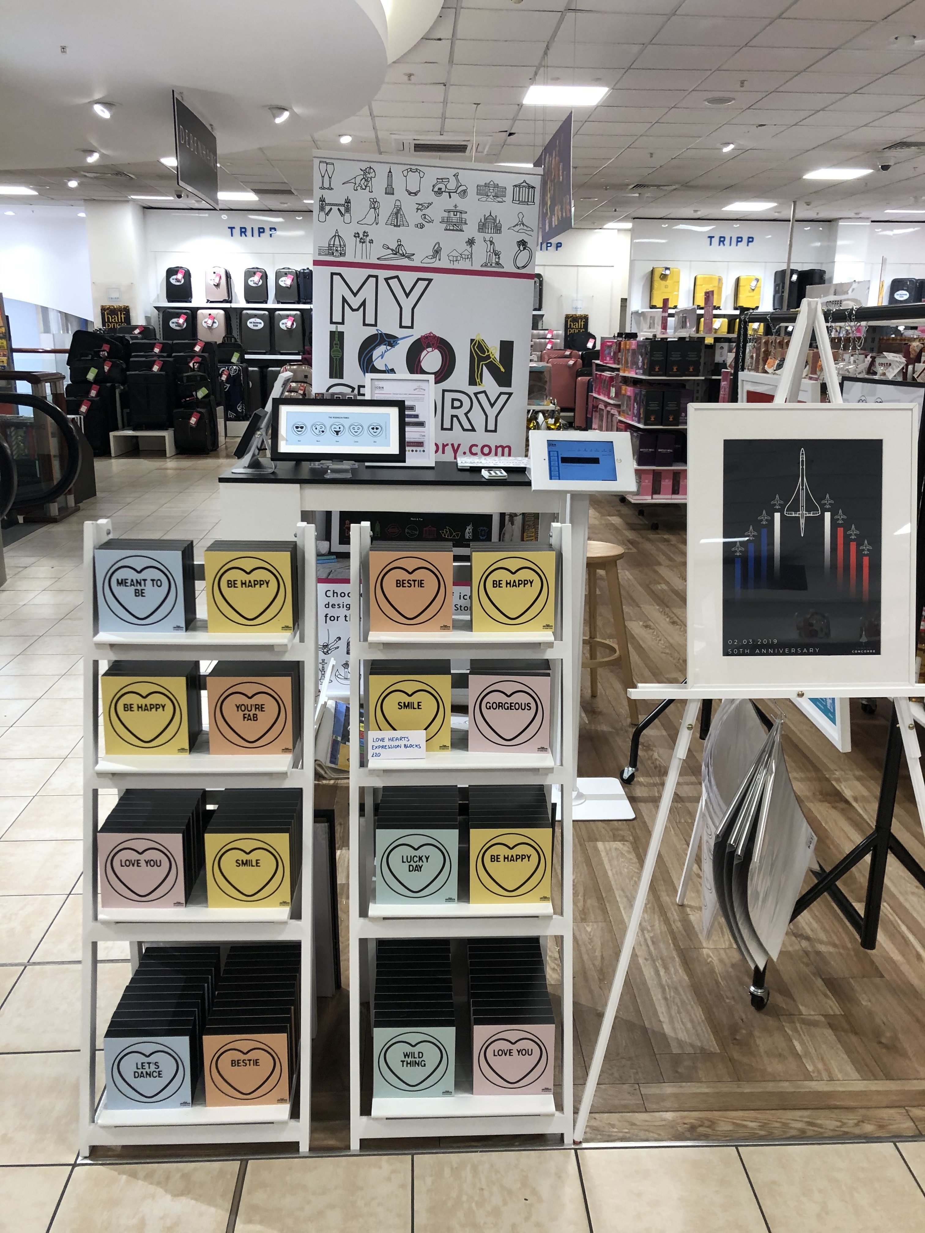 My Icon Story popup shop Love Hearts display in Debenhams Brighton