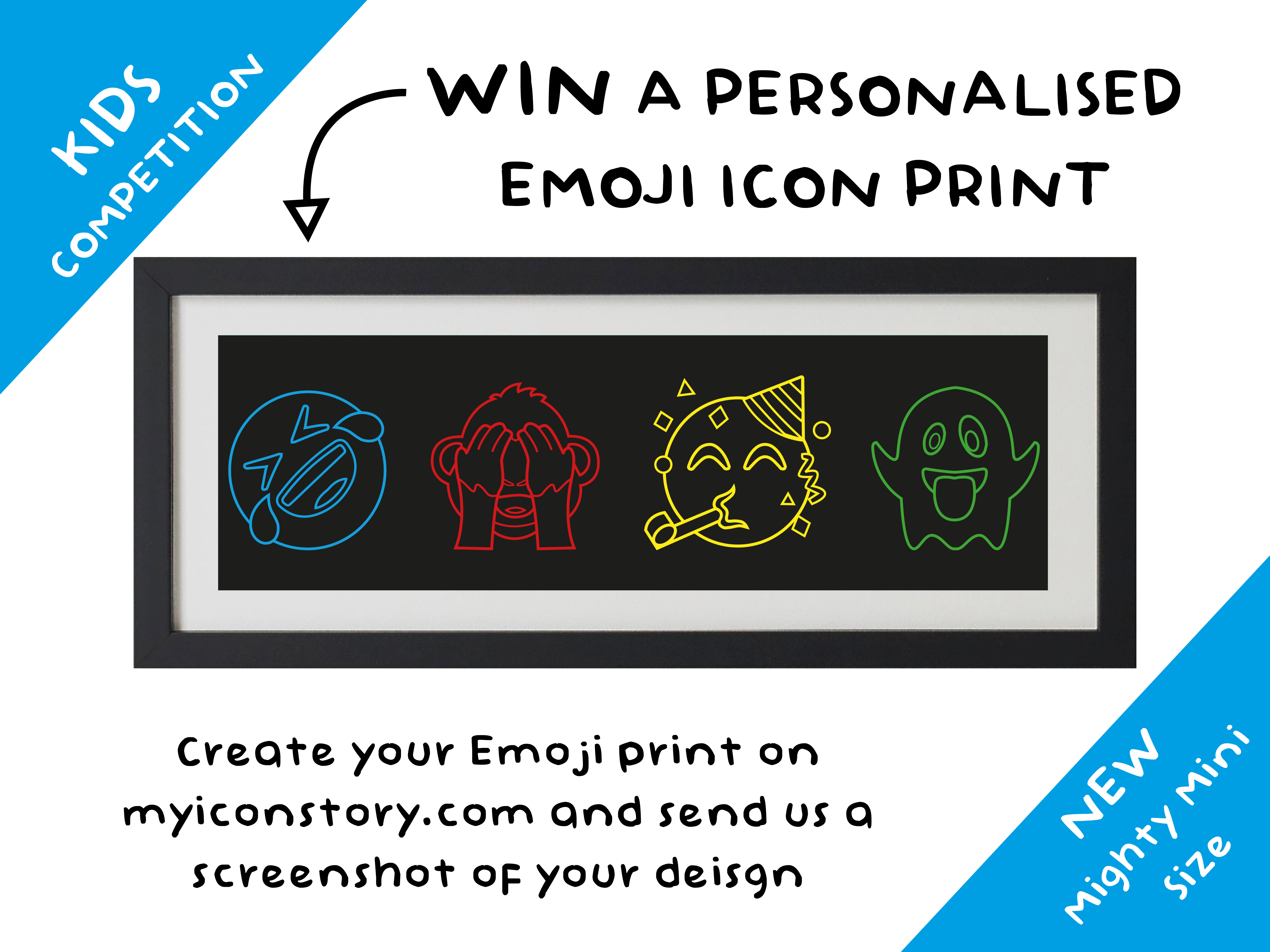 Conmpetition post with emoji print design