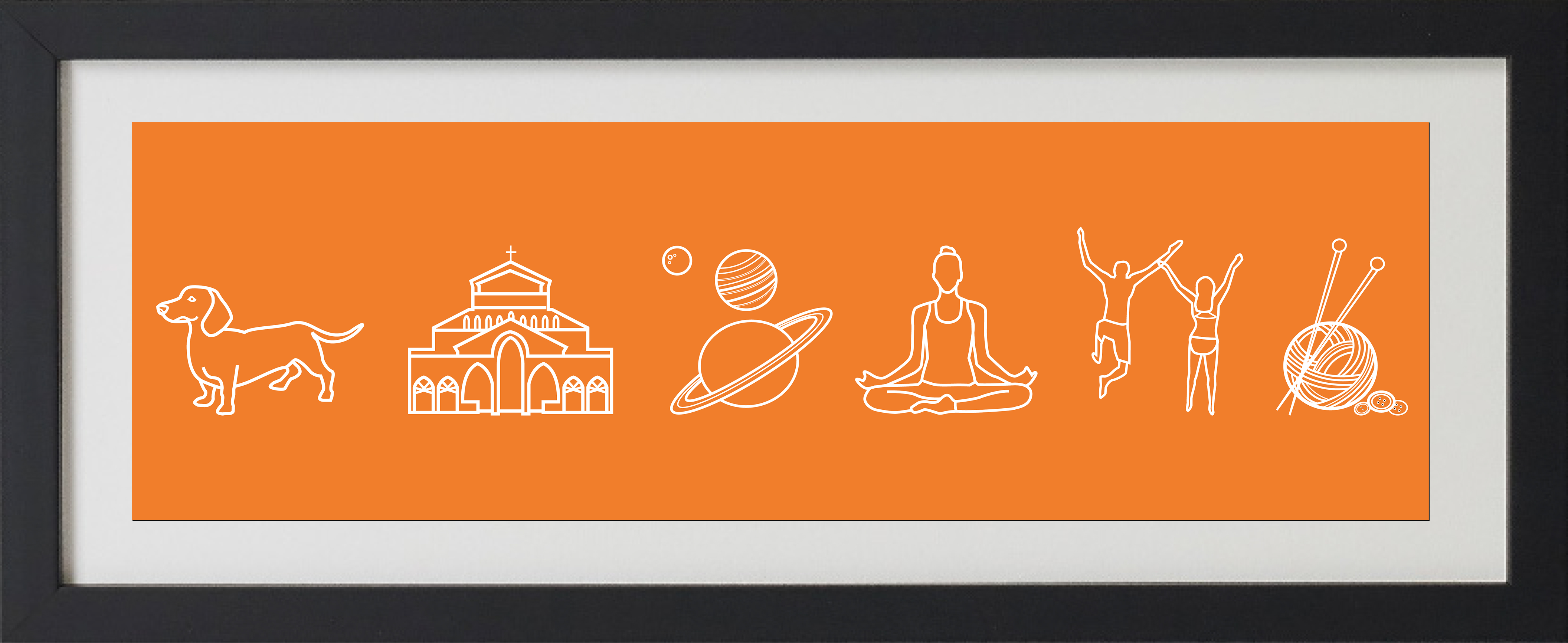 Framed orange print with icons