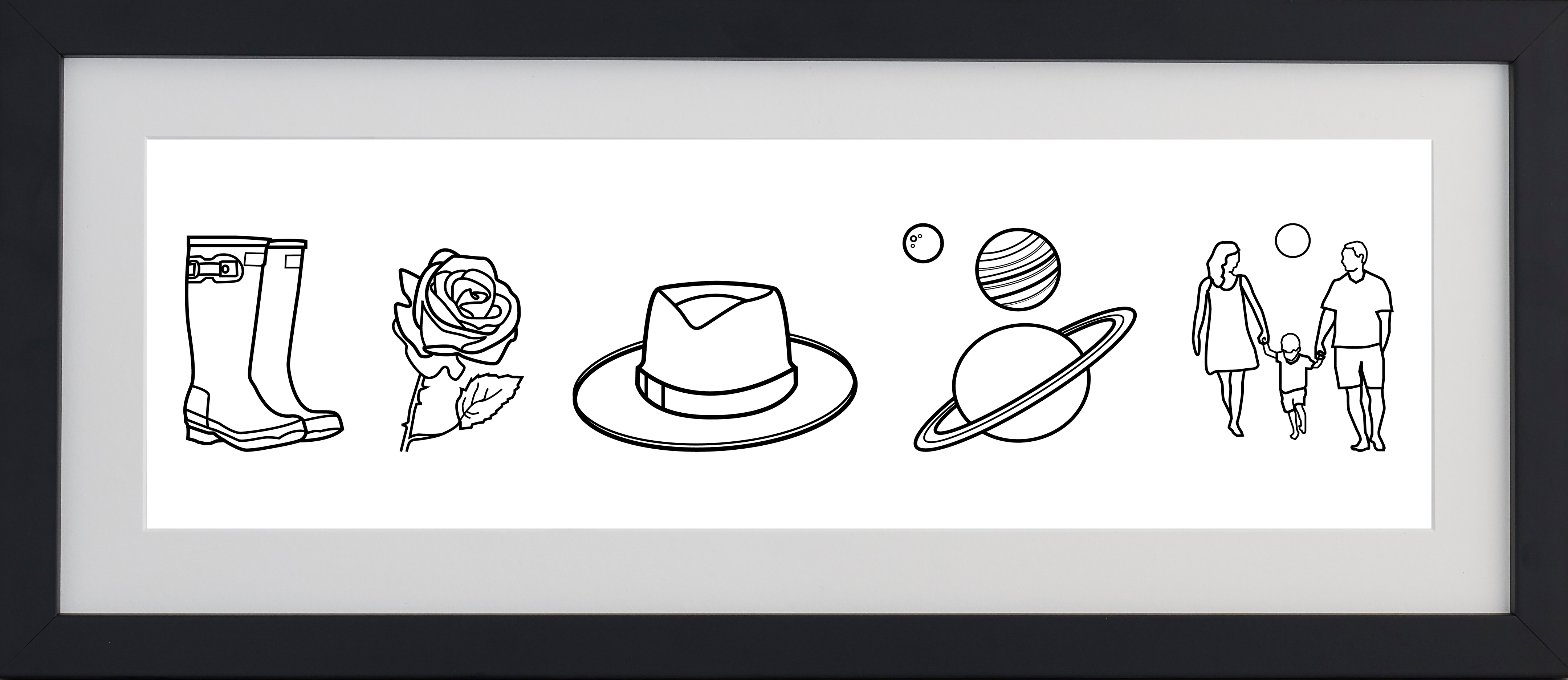 Monochrome framed print with icons