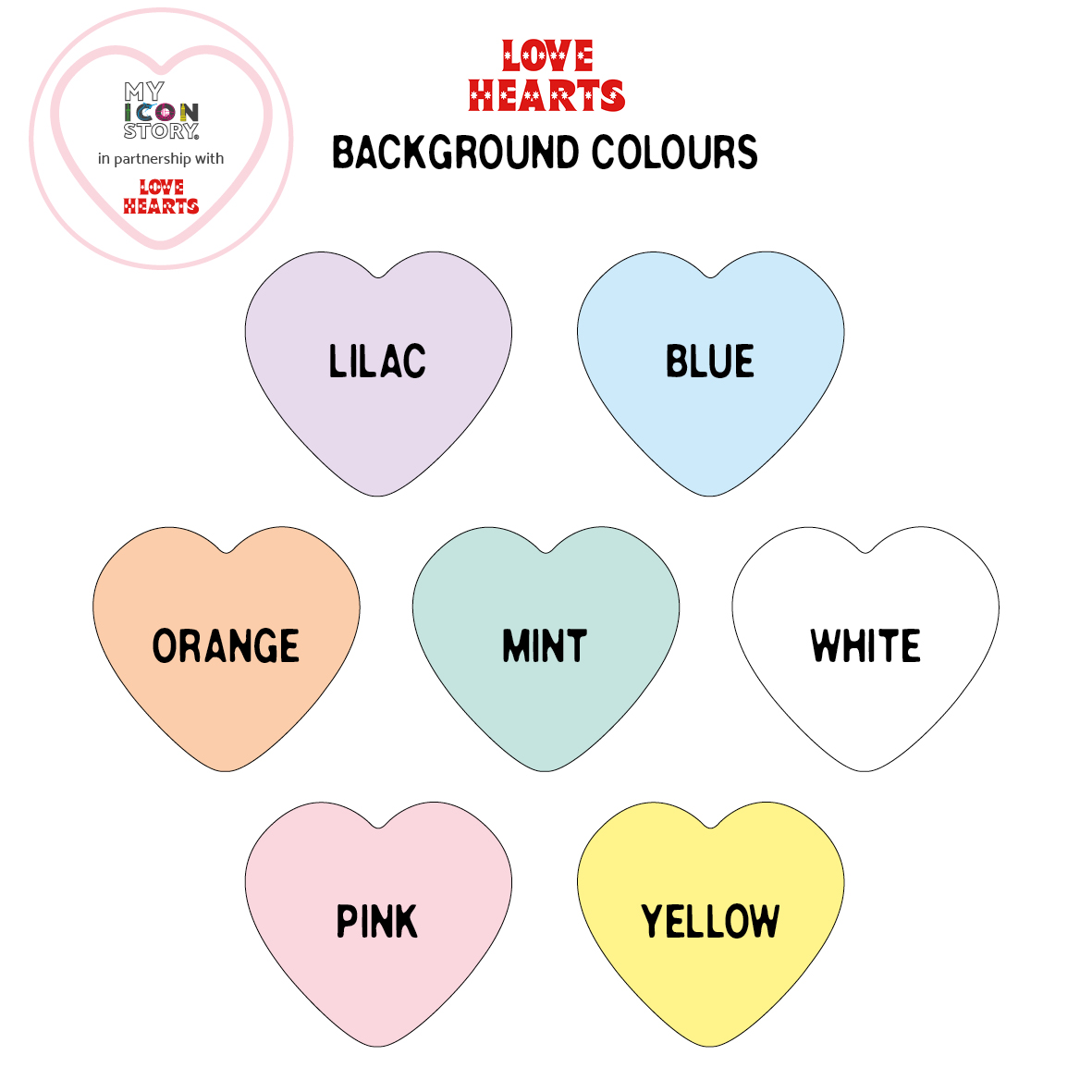 Love hearts background colours